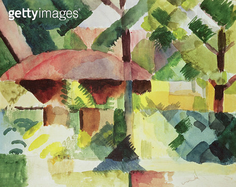 <b>Title</b> : The Garden, 1914 (w/c on paper)<br><b>Medium</b> : <br><b>Location</b> : Private Collection, London, UK<br> - gettyimageskorea