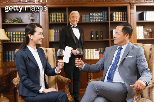 Business people with a glass in his study - gettyimageskorea
