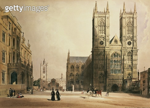 Westminster Abbey and Hospital, 1842 - gettyimageskorea