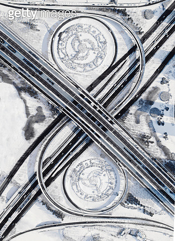 Aerial View Of Zhongyuan Overpass  Haerbin After Snowstorm - gettyimageskorea