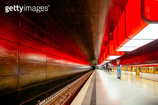 Illuminated subway station in Hamburg, Germany - gettyimageskorea