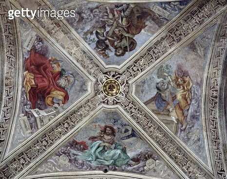<b>Title</b> : Ceiling in Strozzi Chapel depicting prophets Abraham, Noah, Adam and Jacob c.1489-1502 (fresco)<br><b>Medium</b> : <br><b>Location</b> : Santa Maria Novella, Florence, Italy<br> - gettyimageskorea
