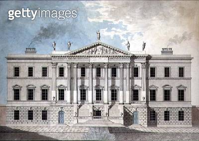 <b>Title</b> : Design for a Neo-Classical Town Palace, 1777 (pen & ink and w/c on paper)<br><b>Medium</b> : pen and ink and watercolour on paper<br><b>Location</b> : Private Collection<br> - gettyimageskorea