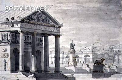 <b>Title</b> : Neo-Classical Stage Set, c.1825 (pen & ink and sepia wash on paper)<br><b>Medium</b> : pen and ink and sepia wash on paper<br><b>Location</b> : Private Collection<br> - gettyimageskorea