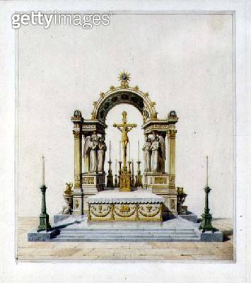 <b>Title</b> : Design for a Neo-Classical High Altar (pen & ink and w/c on paper)<br><b>Medium</b> : pen and ink and watercolour on paper<br><b>Location</b> : Private Collection<br> - gettyimageskorea