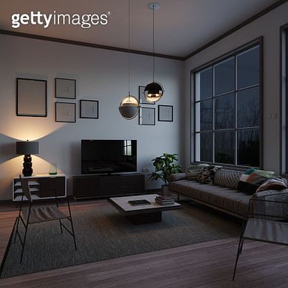 Scandinavian style and minimalist designed living room interior scene in the evening. ( 3d render ) - gettyimageskorea