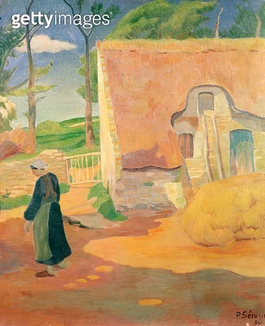 <b>Title</b> : The Farm at Pouldu, 1890 (oil on canvas)<br><b>Medium</b> : oil on canvas<br><b>Location</b> : Private Collection<br> - gettyimageskorea