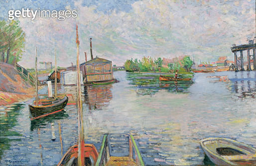 <b>Title</b> : The Bateau-Lavoir at Asnieres, 1886 (oil on canvas) (see 208836 for verso)<br><b>Medium</b> : oil on canvas<br><b>Location</b> : Private Collection<br> - gettyimageskorea
