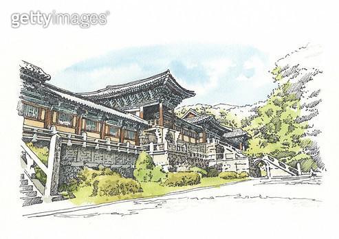 경주 불국사, 세계문화유산, 펜화 - gettyimageskorea