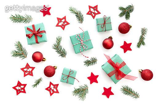 Directly Above Shot Of Christmas Decoration On White Background - gettyimageskorea