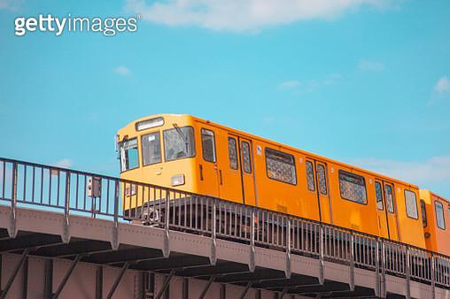 Overground subway train on a blue sky background - gettyimageskorea