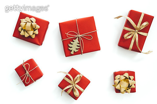 High Angle View Of Christmas Presents On White Background - gettyimageskorea