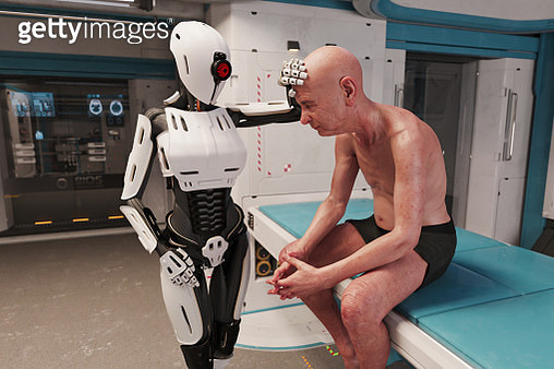 Robot medic examines old man patient in futuristic medical bay - gettyimageskorea