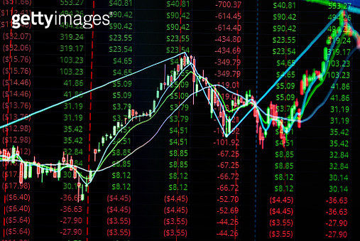 Close-Up Of Stock Market Data On Digital Display - gettyimageskorea