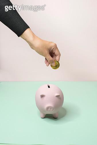 Saving coin into piggy bank still life. - gettyimageskorea