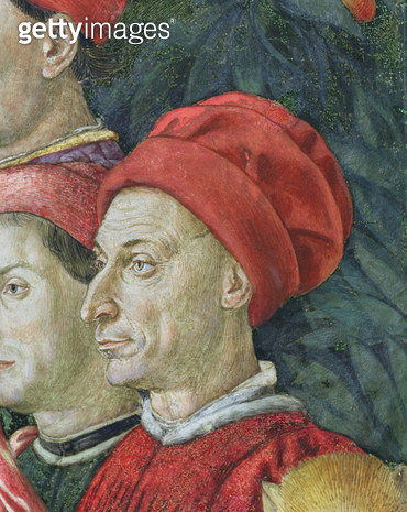 <b>Title</b> : Face in the procession, detail from the Journey of the Magi cycle in the chapel, c.1460 (fresco) (detail of 70603)<br><b>Medium</b> : <br><b>Location</b> : Palazzo Medici-Riccardi, Florence, Italy<br> - gettyimageskorea