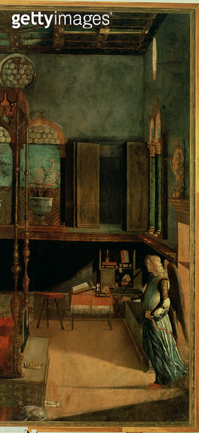 <b>Title</b> : Dream of St.Ursula, 1495 (tempera on canvas) (detail of 686)<br><b>Medium</b> : <br><b>Location</b> : Galleria dell' Accademia, Venice, Italy<br> - gettyimageskorea