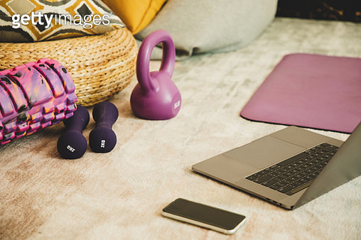 exercise equipments, laptop laying on the floor - gettyimageskorea