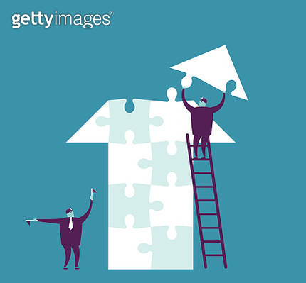 Vector teamwork concept with arrow sign puzzle - gettyimageskorea