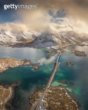 Aerial View of Lofoten Islands in Norway. - gettyimageskorea