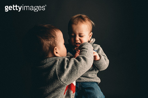 2 Year Old Male Twin Toddlers Fight and Tantrum While Interacting - gettyimageskorea
