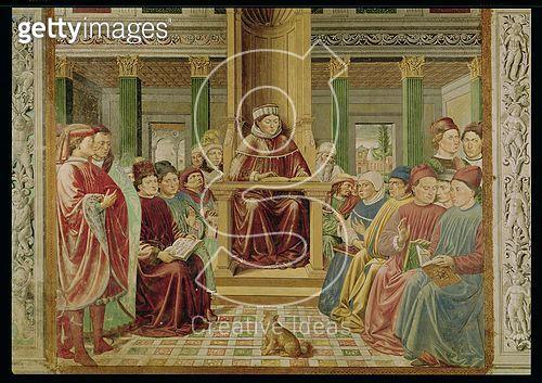 <b>Title</b> : St. Augustine Reading Rhetoric and Philosophy at the School of Rome (fresco)<br><b>Medium</b> : fresco<br><b>Location</b> : S. Agostino, San Gimignano, Italy<br> - gettyimageskorea