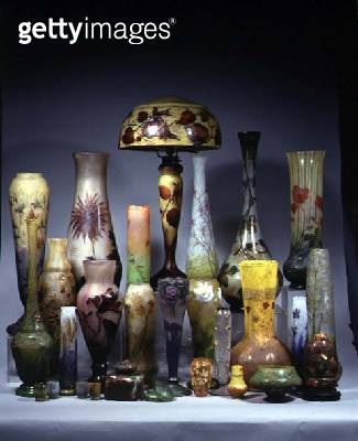 <b>Title</b> : Art Nouveau internally decorated acid-cut vases with overlaid floral decoration by Auguste Daum (1853-1909) (overlaid glass, ena<br><b>Medium</b> : glass<br><b>Location</b> : Private Collection<br> - gettyimageskorea
