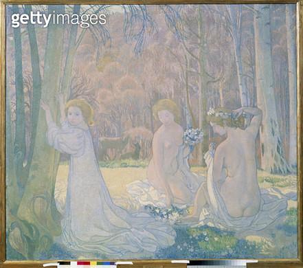 Junge Frauen in Fr?lingslandschaft. 1897. - gettyimageskorea