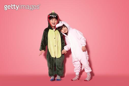 Boys and girls wearing animal costume standing - gettyimageskorea