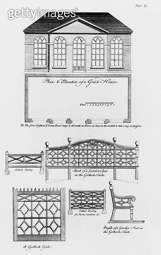 <b>Title</b> : Plan and elevation of a green house, and garden designs in the gothic style, from 'The Builder's Companion and Workman's General<br><b>Medium</b> : engraving<br><b>Location</b> : Private Collection<br> - gettyimageskorea