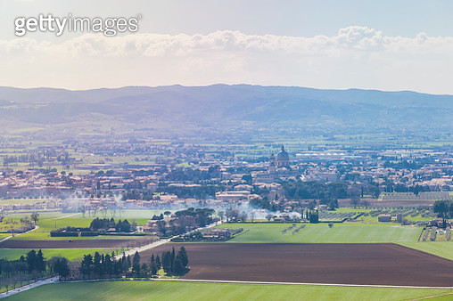 Fields of Assisi in Umbria - Italy, on a sunny day - gettyimageskorea