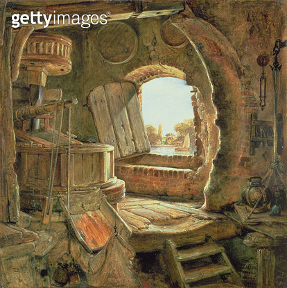 <b>Title</b> : Rembrandt's Father's Mill, 1838 (oil on panel)<br><b>Medium</b> : oil on panel<br><b>Location</b> : Private Collection<br> - gettyimageskorea