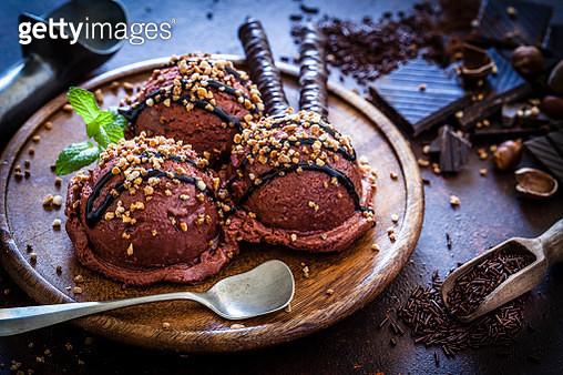 Chocolate ice cream still life - gettyimageskorea