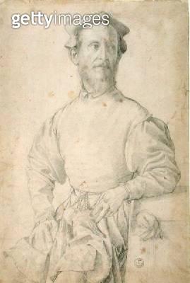 <b>Title</b> : Portrait of Jacopo Pontormo (1497-1557) (black chalk on paper)<br><b>Medium</b> : <br><b>Location</b> : Gabinetto dei Disegni e Stampe, Uffizi, Florence, Italy<br> - gettyimageskorea