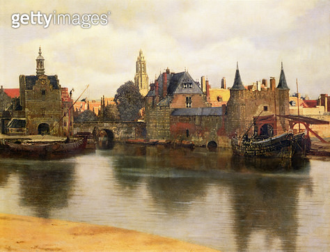 <b>Title</b> : View of Delft, c.1660-61 (oil on canvas) (detail of 113452)<br><b>Medium</b> : oil on canvas<br><b>Location</b> : Mauritshuis, The Hague, The Netherlands<br> - gettyimageskorea