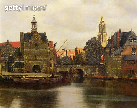 <b>Title</b> : View of Delft c.1660-61 (oil on canvas) (detail of 113452)<br><b>Medium</b> : oil on canvas<br><b>Location</b> : Mauritshuis, The Hague, The Netherlands<br> - gettyimageskorea