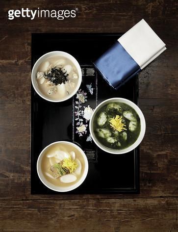 한국음식 ,다양한 떡국 - gettyimageskorea