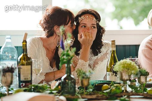 Brides at wedding reception - gettyimageskorea