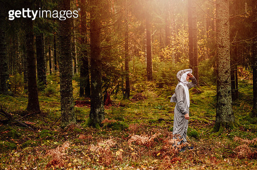Man in forest woods in shark costume concept   Concept for out of context, wrong place wrong time, fish on dry land, odd one out, unnatural habitat, out of place etc. - gettyimageskorea