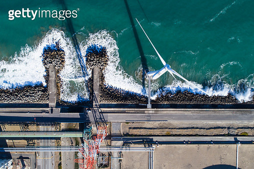 Windmills by The Sea - gettyimageskorea