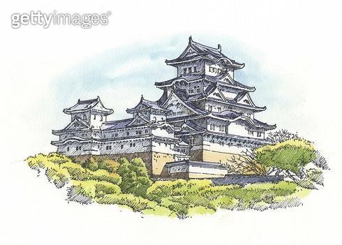 일본 건축물, 세계문화유산, 펜화 - gettyimageskorea