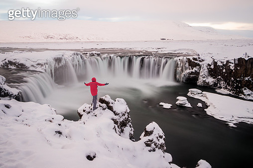 The Godafoss waterfall in Iceland also know as 'waterfall of the gods' or 'waterfall of the god' - gettyimageskorea