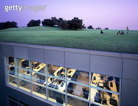 Office complex with landscaped roof - gettyimageskorea