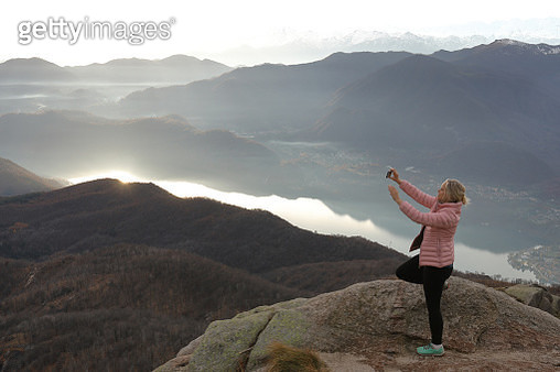 Mountains, lake and valley in distance - gettyimageskorea