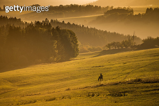 View of horse rider on slope - gettyimageskorea