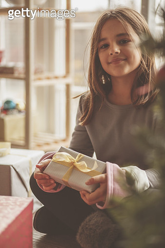 Selective focus of cute little eight year old girl sitting under Christmas three and holding her gift while looking at camera with a smile on her face. - gettyimageskorea