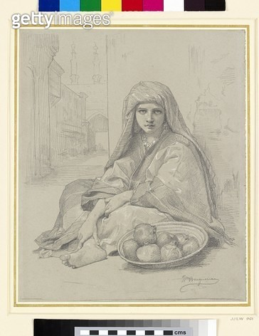 <b>Title</b> : Algerian Girl Selling Pomegranates (pencil on paper)<br><b>Medium</b> : pencil on paper<br><b>Location</b> : Ashmolean Museum, University of Oxford, UK<br> - gettyimageskorea