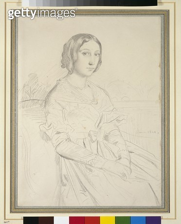 <b>Title</b> : Portrait of a Young Woman, 1841 (pencil on paper)<br><b>Medium</b> : <br><b>Location</b> : Ashmolean Museum, University of Oxford, UK<br> - gettyimageskorea