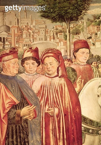 <b>Title</b> : St. Augustine Departing for Milan, from the Cycle of the Life of St. Augustine, 1464-65 (fresco) (detail)<br><b>Medium</b> : fresco<br><b>Location</b> : Sant' Agostino, San Gimignano, Italy<br> - gettyimageskorea
