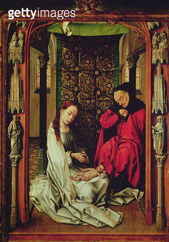 <b>Title</b> : The Nativity, left wing of a triptych, c.1496 (oil on panel)<br><b>Medium</b> : oil on panel<br><b>Location</b> : Capilla Real, Granada, Spain<br> - gettyimageskorea
